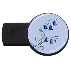 Floral Blue Bluebell Flowers Watercolor Painting USB Flash Drive Round (1 GB)