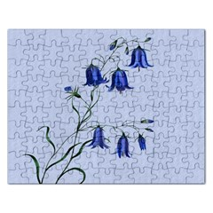Floral Blue Bluebell Flowers Watercolor Painting Rectangular Jigsaw Puzzl