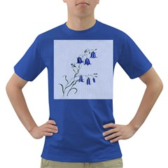 Floral Blue Bluebell Flowers Watercolor Painting Dark T Shirt
