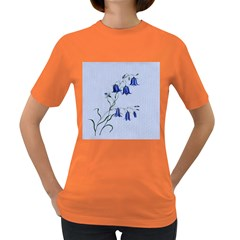 Floral Blue Bluebell Flowers Watercolor Painting Women s Dark T-Shirt