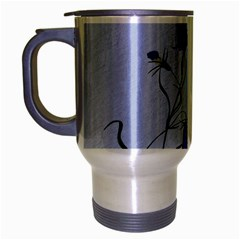 Floral Blue Bluebell Flowers Watercolor Painting Travel Mug (Silver Gray)