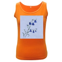 Floral Blue Bluebell Flowers Watercolor Painting Women s Dark Tank Top