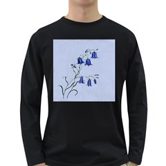 Floral Blue Bluebell Flowers Watercolor Painting Long Sleeve Dark T-Shirts