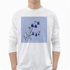 Floral Blue Bluebell Flowers Watercolor Painting White Long Sleeve T-Shirts