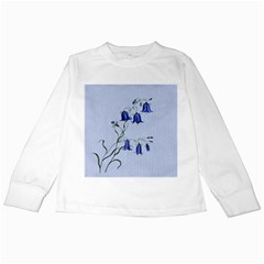 Floral Blue Bluebell Flowers Watercolor Painting Kids Long Sleeve T-Shirts