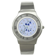 Floral Blue Bluebell Flowers Watercolor Painting Stainless Steel Watch