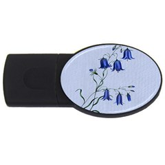 Floral Blue Bluebell Flowers Watercolor Painting Usb Flash Drive Oval (4 Gb)