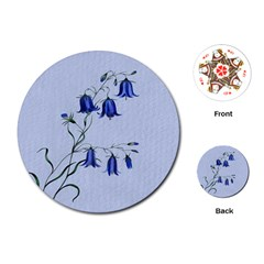 Floral Blue Bluebell Flowers Watercolor Painting Playing Cards (Round)
