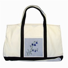 Floral Blue Bluebell Flowers Watercolor Painting Two Tone Tote Bag