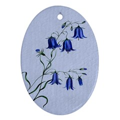 Floral Blue Bluebell Flowers Watercolor Painting Oval Ornament (Two Sides)