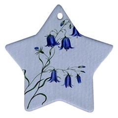 Floral Blue Bluebell Flowers Watercolor Painting Star Ornament (Two Sides)