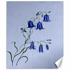 Floral Blue Bluebell Flowers Watercolor Painting Canvas 8  x 10