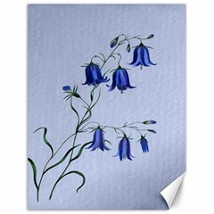 Floral Blue Bluebell Flowers Watercolor Painting Canvas 12  x 16