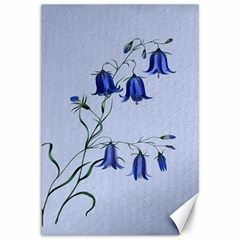 Floral Blue Bluebell Flowers Watercolor Painting Canvas 12  X 18