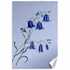 Floral Blue Bluebell Flowers Watercolor Painting Canvas 24  X 36