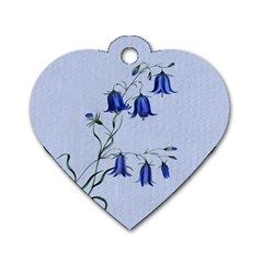 Floral Blue Bluebell Flowers Watercolor Painting Dog Tag Heart (One Side)