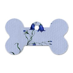 Floral Blue Bluebell Flowers Watercolor Painting Dog Tag Bone (One Side)