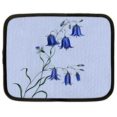 Floral Blue Bluebell Flowers Watercolor Painting Netbook Case (Large)