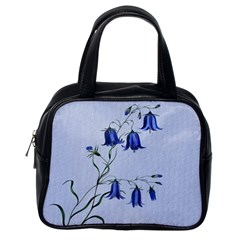 Floral Blue Bluebell Flowers Watercolor Painting Classic Handbags (one Side)
