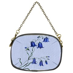 Floral Blue Bluebell Flowers Watercolor Painting Chain Purses (one Side)