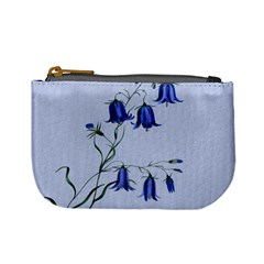 Floral Blue Bluebell Flowers Watercolor Painting Mini Coin Purses