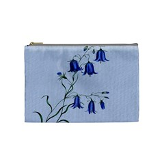 Floral Blue Bluebell Flowers Watercolor Painting Cosmetic Bag (medium)