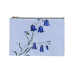 Floral Blue Bluebell Flowers Watercolor Painting Cosmetic Bag (large)