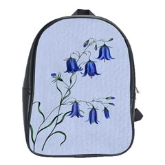 Floral Blue Bluebell Flowers Watercolor Painting School Bags(Large)