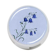 Floral Blue Bluebell Flowers Watercolor Painting 4-Port USB Hub (Two Sides)