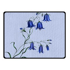 Floral Blue Bluebell Flowers Watercolor Painting Fleece Blanket (Small)