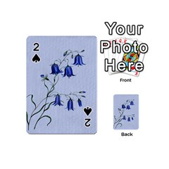 Floral Blue Bluebell Flowers Watercolor Painting Playing Cards 54 (Mini)