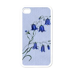 Floral Blue Bluebell Flowers Watercolor Painting Apple Iphone 4 Case (white)