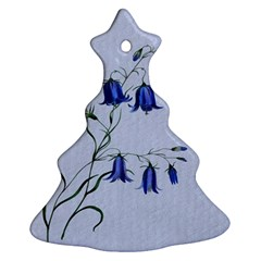 Floral Blue Bluebell Flowers Watercolor Painting Ornament (Christmas Tree)