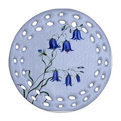 Floral Blue Bluebell Flowers Watercolor Painting Round Filigree Ornament (two Sides)