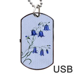 Floral Blue Bluebell Flowers Watercolor Painting Dog Tag USB Flash (Two Sides)