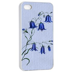Floral Blue Bluebell Flowers Watercolor Painting Apple iPhone 4/4s Seamless Case (White)