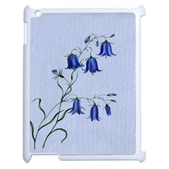 Floral Blue Bluebell Flowers Watercolor Painting Apple Ipad 2 Case (white)