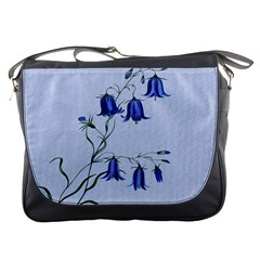 Floral Blue Bluebell Flowers Watercolor Painting Messenger Bags