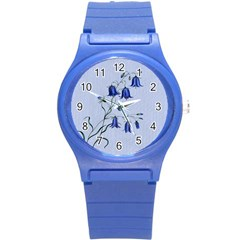 Floral Blue Bluebell Flowers Watercolor Painting Round Plastic Sport Watch (S)