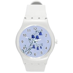 Floral Blue Bluebell Flowers Watercolor Painting Round Plastic Sport Watch (M)