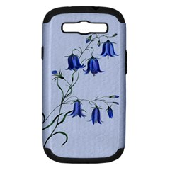 Floral Blue Bluebell Flowers Watercolor Painting Samsung Galaxy S III Hardshell Case (PC+Silicone)
