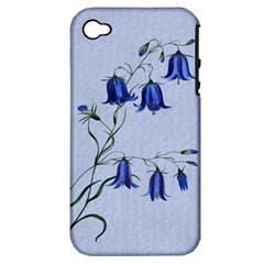 Floral Blue Bluebell Flowers Watercolor Painting Apple iPhone 4/4S Hardshell Case (PC+Silicone)
