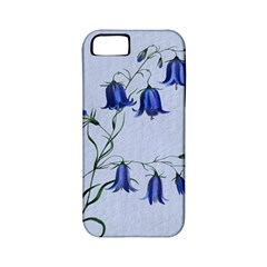 Floral Blue Bluebell Flowers Watercolor Painting Apple Iphone 5 Classic Hardshell Case (pc+silicone)