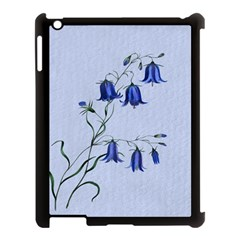 Floral Blue Bluebell Flowers Watercolor Painting Apple iPad 3/4 Case (Black)