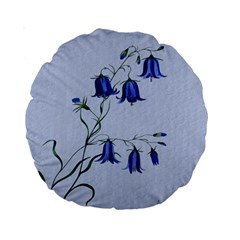 Floral Blue Bluebell Flowers Watercolor Painting Standard 15  Premium Round Cushions