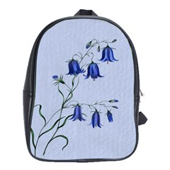 Floral Blue Bluebell Flowers Watercolor Painting School Bags (xl)