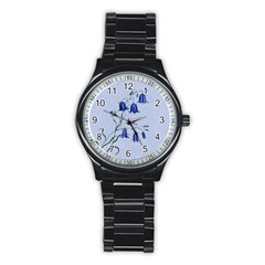 Floral Blue Bluebell Flowers Watercolor Painting Stainless Steel Round Watch
