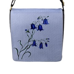 Floral Blue Bluebell Flowers Watercolor Painting Flap Messenger Bag (L)