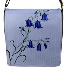 Floral Blue Bluebell Flowers Watercolor Painting Flap Messenger Bag (s)