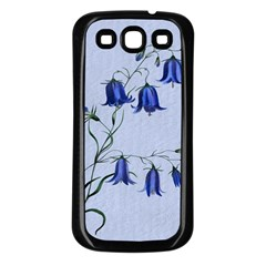 Floral Blue Bluebell Flowers Watercolor Painting Samsung Galaxy S3 Back Case (Black)